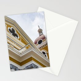 Looking up at the Exterior of the Yellow Granada Cathedral in Downtown Granada, Nicaragua Stationery Cards
