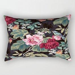 Noir Flower Pattern Rectangular Pillow