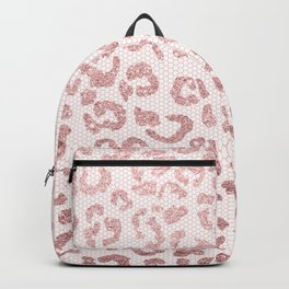 Faux pink glitter leopard pattern illustration on pink lace Backpack