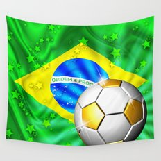 Brazil Flag Gold Green and Soccer Ball Wall Tapestry