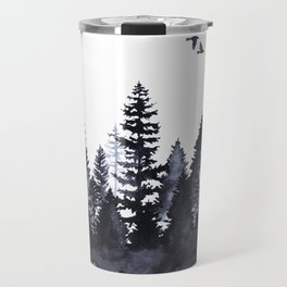 Forest Silhouette Watercolor Travel Mug