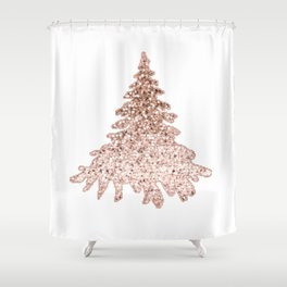 Sparkling christmas tree rose gold ombre Shower Curtain