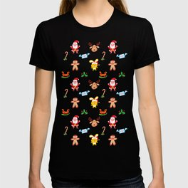 Cute Santa Claus, reindeer, bunny and cookie man Christmas pattern T-shirt