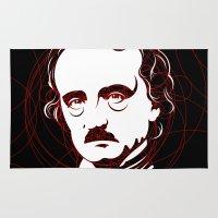 edgar allan poe Area & Throw Rugs featuring Edgar Allan Poe Circles Portrait by René Martin