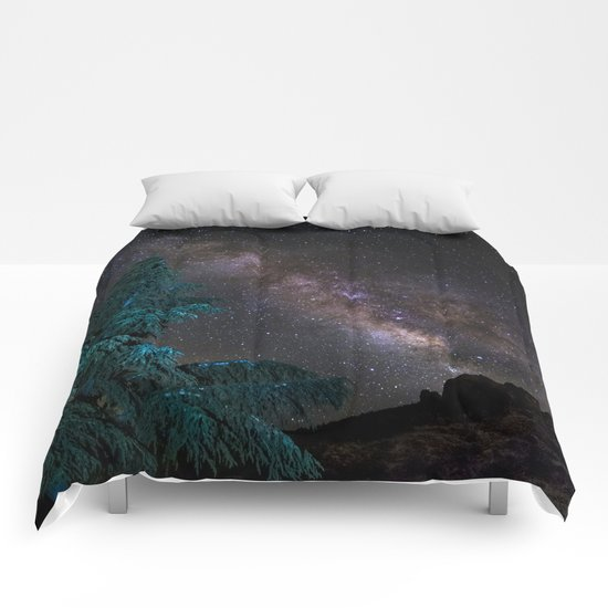 """Milky-way at the mountains"". Summer  Comforters"