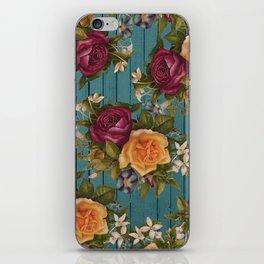 Vintage green wood coral burgundy roses floral iPhone Skin