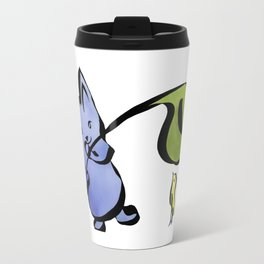 Good Friends Cute Animal Watercolor Painting with Mouse and Bird Travel Mug