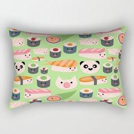 Kawaii sushi green Rectangular Pillow