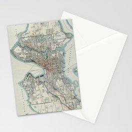 Vintage Map of Seattle Washington (1911) Stationery Cards