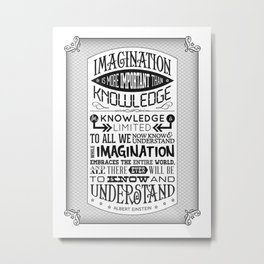 Einstein Imagination Quote poster Metal Print