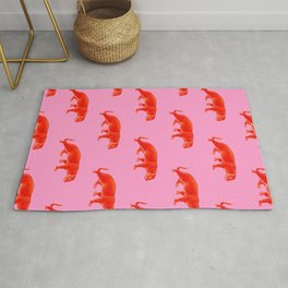 Vintage Cheetahs in Coral + Red Rug