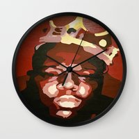 notorious big Wall Clocks featuring Notorious Big by The Art Of Gem Starr