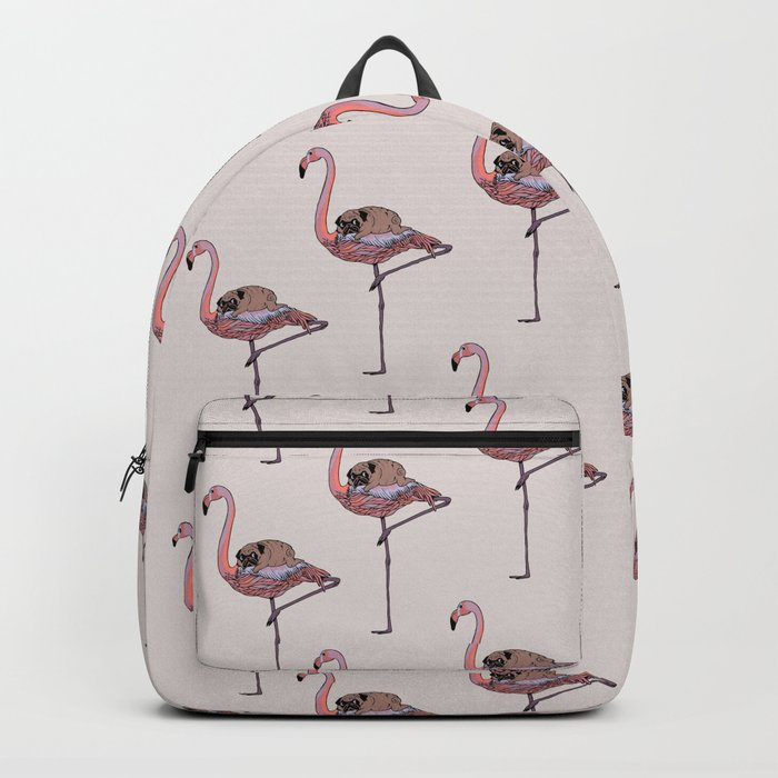 Flamingo and Pug Backpack