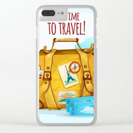 Travel Concept With Suitcase Clear iPhone Case
