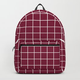 Claret - purple color - White Lines Grid Pattern Backpack