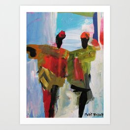 People Figure the World Abstract Art Contemporary Blue Red Green Black Sky Art Print