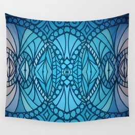 Blue Art Deco Wall Tapestry