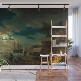 Night, A Port in Moonlight by Claude Vernet Wall Mural