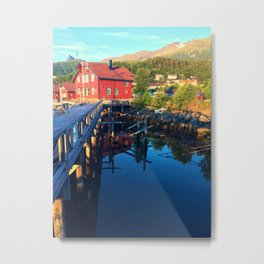 Classic Red Against The Norwegian Landscape Metal Print