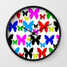 Butterfly Pretty Colors Pattern Wall Clock