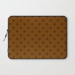 Black on Chocolate Brown Snowflakes Laptop Sleeve