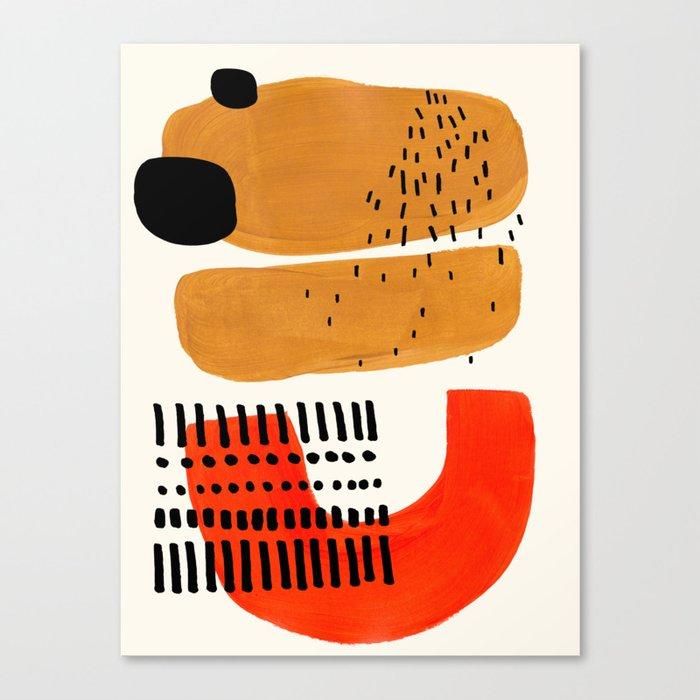Mid Century Modern Abstract Minimalist Retro Vintage Style Fun Playful Ochre Yellow Ochre Orange  Leinwanddruck