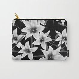 White lilies on a black background . Carry-All Pouch