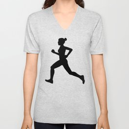Running Girl B&W Pattern Unisex V-Neck