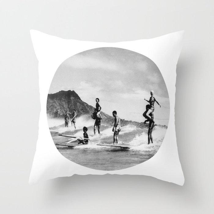 Tandem Surfing Throw Pillow
