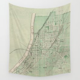 Vintage Map of Lafayette Indiana (1876) Wall Tapestry