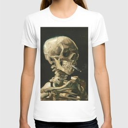 Skull of a Skeleton with Burning Cigarette by Vincent van Gogh T-shirt