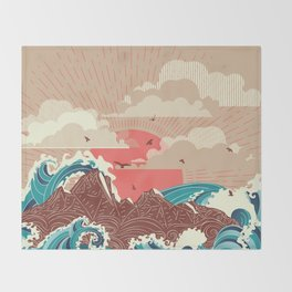 Stylized big waves of ocean or sea at sunset landscape Throw Blanket