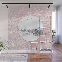 Santa Monica Pier, California City Skyline Illustration Drawing Wall Mural