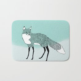 Fox in the snow – Animal Illustration – Kitsune in snow scene – vintage colors – antiqued colors Bath Mat