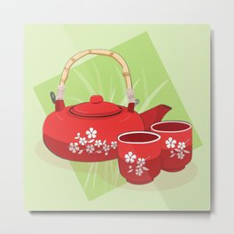 Red Tea Set Metal Print