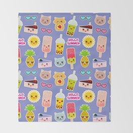 Hello Summer Pineapple, cherry smoothie cup, ice cream, sun, cat, cake, hamster. Kawaii cute face. Throw Blanket