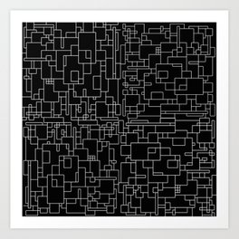 Circuitry - Abstract, geometric, black and white Art Print