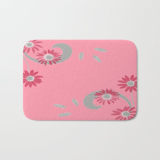 Floral Scroll Design - Strawberry Red Bath Mat