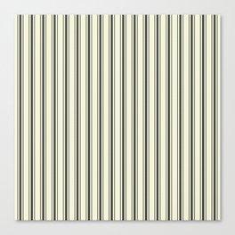 Mattress Ticking Wide Striped Pattern in Dark Black and Beige Canvas Print