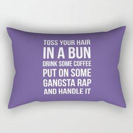 Toss Your Hair in a Bun, Coffee, Gangsta Rap & Handle It (Ultra Violet) Rectangular Pillow