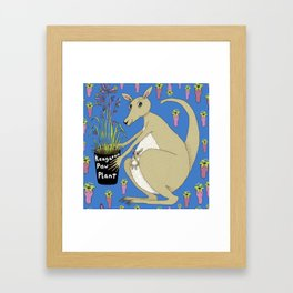 kangaroo with Australian kangaroo paw plant, green beige khaki brown orchid lime Framed Art Print