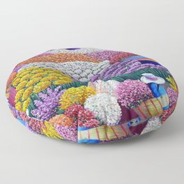 Pearl of the Andes Mountains - Valley of Starry Ranunculus Blossoms and Flower Sellers Floor Pillow