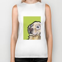 golden retriever Biker Tanks featuring George the golden retriever by Pawblo Picasso