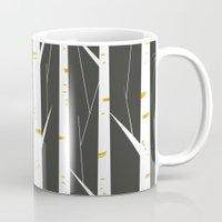 birch Mugs featuring Birch forest by FLATOWL