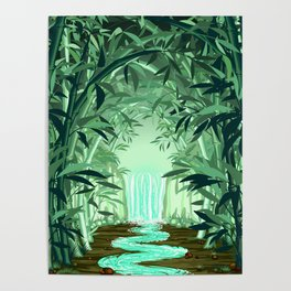 Fluorescent Waterfall on Surreal Bamboo Forest Poster