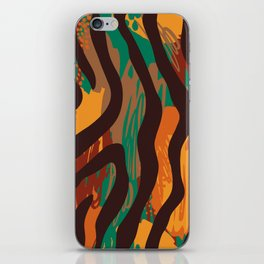 Brown orange green geometric ethnic zebra animal print iPhone Skin