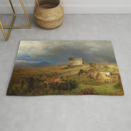 Via Appia with the Tomb of Caecilia Metella in Roman Italian Countryside by Oswald Achenbach Rug