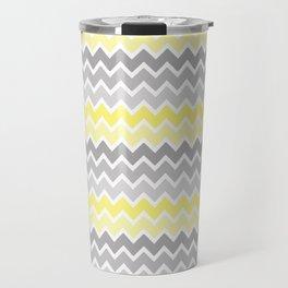 Grey Gray Yellow Ombre Chevron Travel Mug