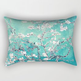 Vincent Van Gogh Almond Blossoms Turquoise Rectangular Pillow