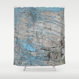 Peeled Blue Paint on Wood rustic decor Shower Curtain
